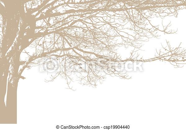 egyedül, vektor, fa, silhouette. - csp19904440