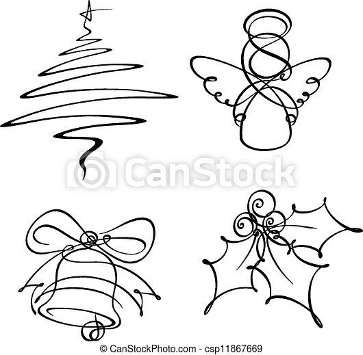 egyenes, négy, egyedülálló, karácsony, ikonok - csp11867669