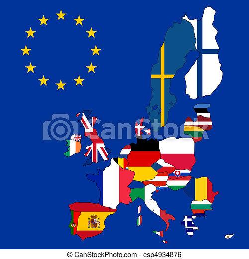 egyesítés, térkép, 27, zászlók, európai - csp4934876