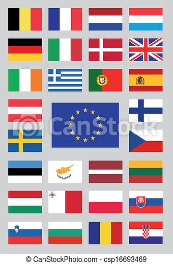 egyesítés, zászlók, európai - csp16693469