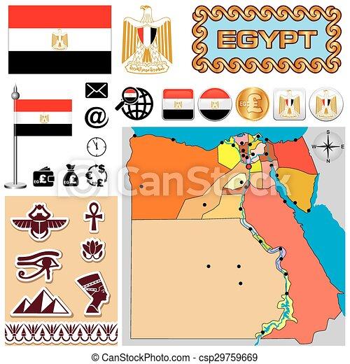 egyiptom, térkép - csp29759669