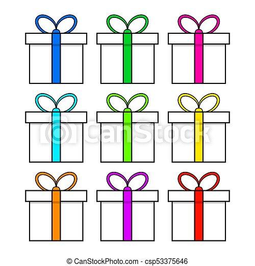 egyszerű, elszigetelt, tervezés, háttér, white christmas, ajándék, ikon - csp53375646