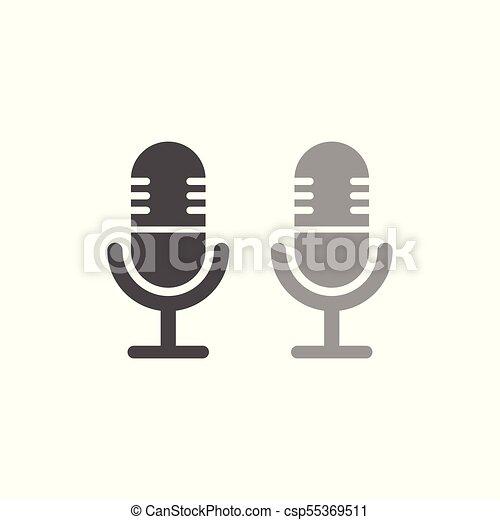 egyszerű, mikrofon, tervezés, ikon - csp55369511