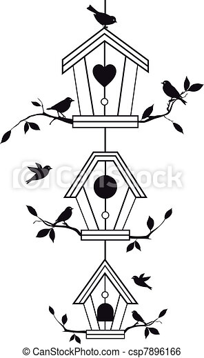 elágazik, birdhouses, fa - csp7896166