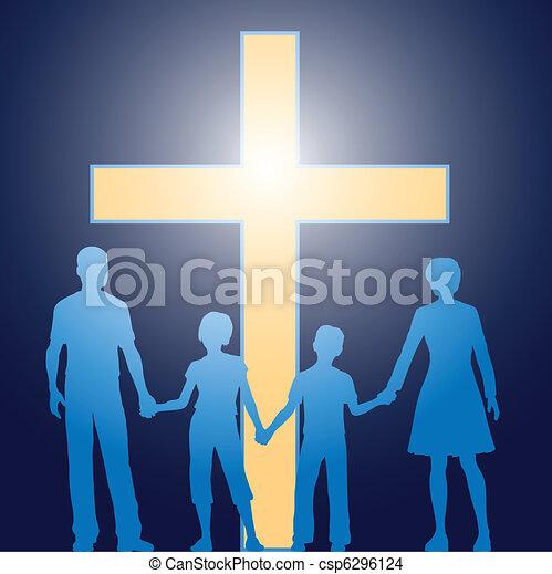 előbb, keresztény, család, álló, fénylő, kereszt - csp6296124
