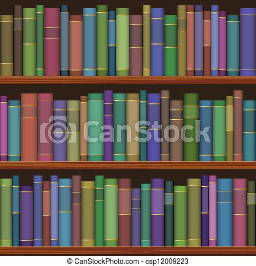 előjegyez, öreg, seamless, könyvtár, polc - csp12009223