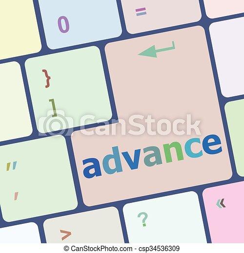 előleg, számítógép, gombol, billentyűzet, ábra, vektor, kulcs, beír - csp34536309