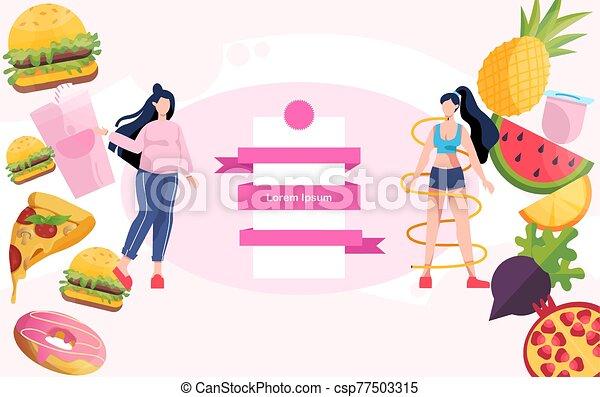 előrehalad, egészséges, weight., kövér, fogyaszt, concept., vesztes, nő - csp77503315