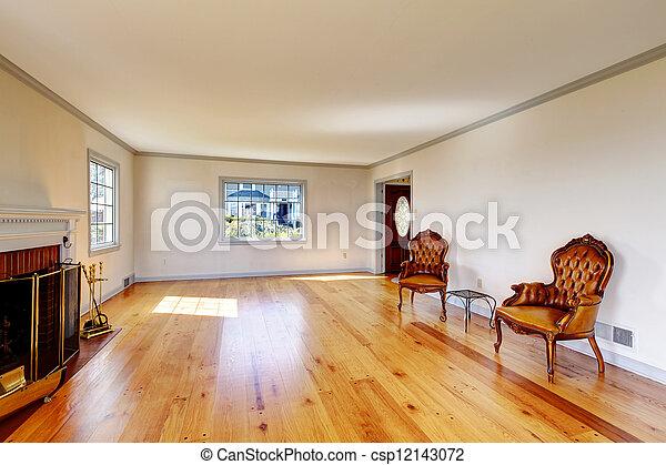 eleven, öreg, szoba, nagy, belső, fireplace., üres - csp12143072