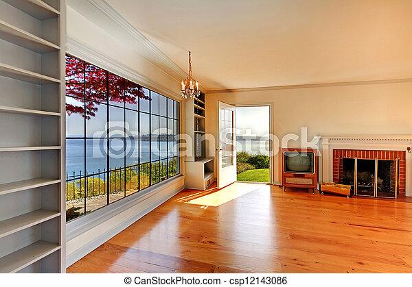 eleven, öreg, szoba, nagy, belső, fireplace., üres - csp12143086