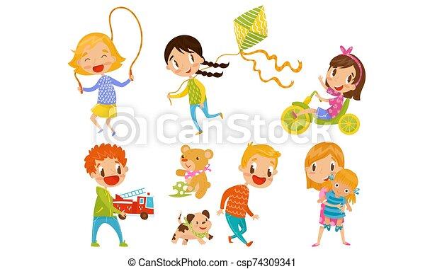 elfoglaltság, apró, gyerekek, móka, állhatatos, vektor, birtoklás, játék, különböző, ábra - csp74309341