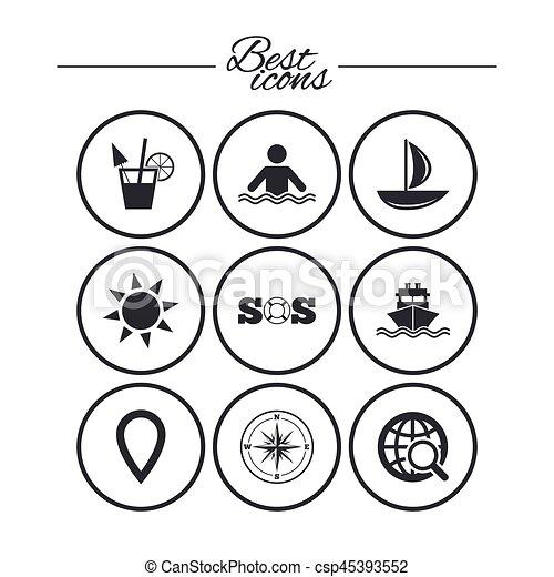 elgáncsol, utazás, jacht, icons., luxushajó, signs. - csp45393552