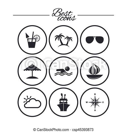 elgáncsol, utazás, jacht, icons., luxushajó, signs. - csp45393873