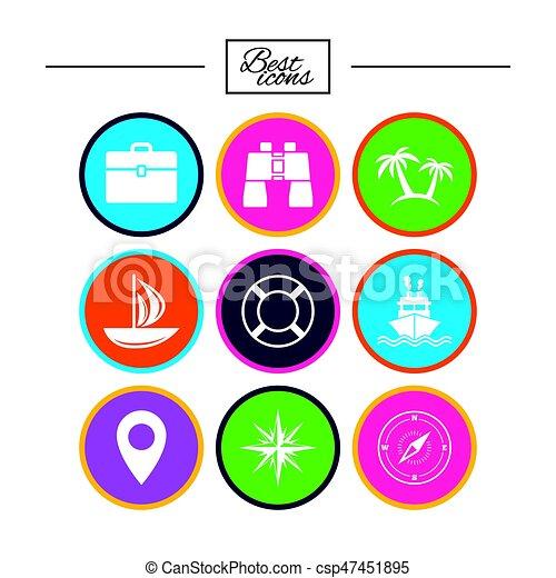 elgáncsol, utazás, jacht, icons., luxushajó, signs. - csp47451895