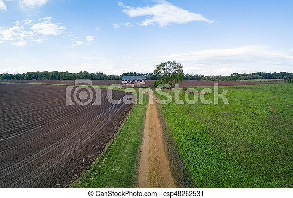 elhagyatott, piszok, tanya, ólmozás, épület, út - csp48262531