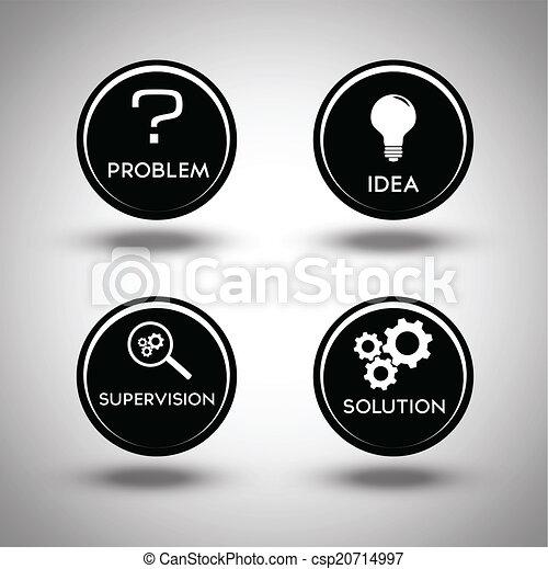 eljárás, probléma kibogoz, ikonok - csp20714997