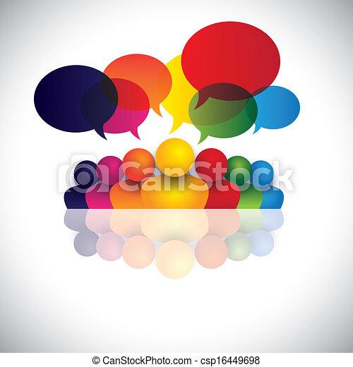 eljegyzés, hivatal emberek, kommunikáció, megbeszélések, gyerekek, bot, &, média, is, munkavállaló, gyűlés, gyerekek, kölcsönhatás, tanácskozás, őt előad, grafikus, társalgás., beszéd, vektor, társadalmi, vagy - csp16449698