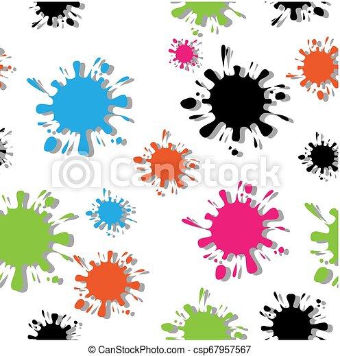 elkészített, szín, motívum, csepp, seamless, elszigetelt, blots, tinta, fehér, árnyék - csp67957567