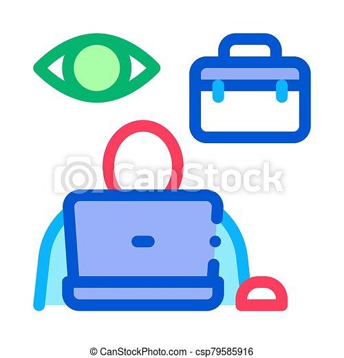ellenőrzés, munkavállaló, ikon, áttekintés, ábra, vektor - csp79585916