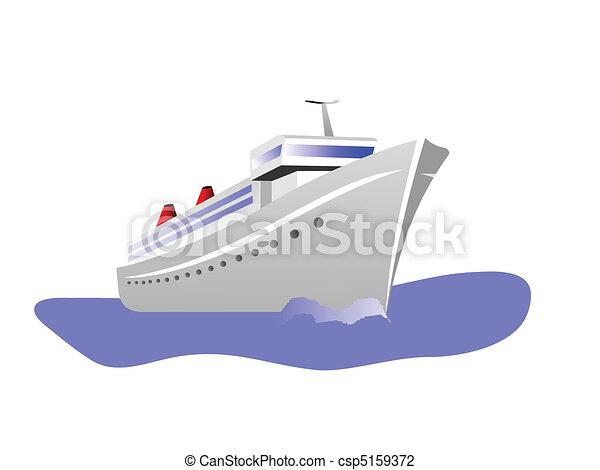 elszigetelt, ábra, vektor, luxushajó, fehér - csp5159372