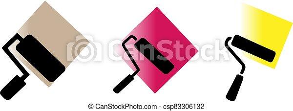 elszigetelt, festék, ikon, háttér, hajcsavaró - csp83306132
