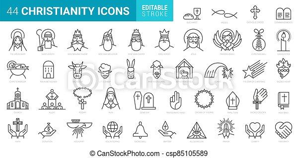 elszigetelt, minimális, alapismeretek, 44, állhatatos, ikonok, háttér, keresztény, fehér, vektor - csp85105589