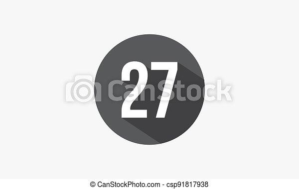 elszigetelt, szám, árnyék, 27, háttér., fehér - csp91817938