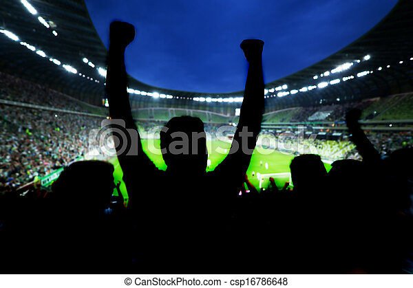 eltart, labdarúgás, -eik, rajongó, befog, futball, ünnepel - csp16786648