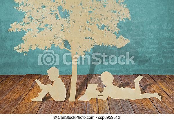 elvág, olvas, fa, gyerekek, dolgozat, alatt, könyv - csp8959512