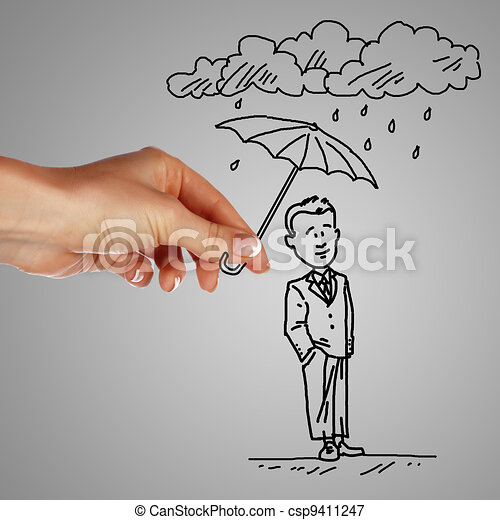ember, esernyő, eső, birtok, alatt - csp9411247