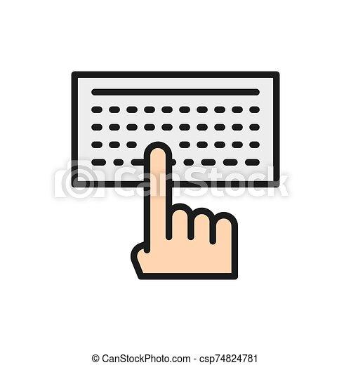 ember, icon., billentyűzet, gépelés, szöveg, lakás, szín - csp74824781