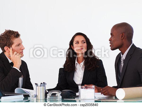 emberek ügy, három, egymásra hatók, gyűlés - csp2035840