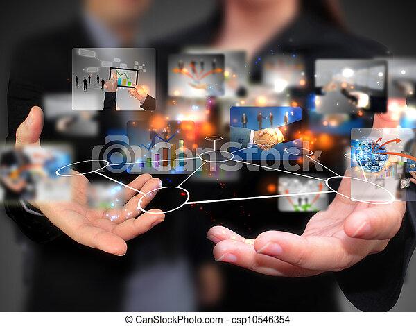 emberek, birtok, média, társadalmi, ügy - csp10546354