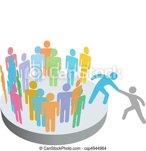 emberek, csatlakozik, felszolgál, személy, tagok, csoport, társaság, pártfogó - csp4944964