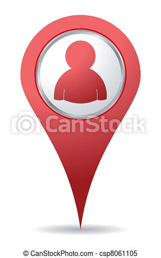 emberek, elhelyezés, ikon - csp8061105