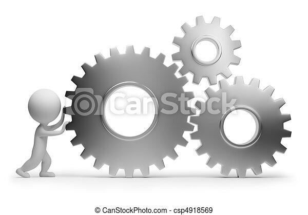 emberek, -, fogaskerék-áttétel, kicsi, hengermű, 3 - csp4918569