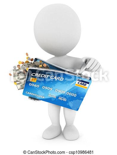 emberek, hitelkártya, fehér, indít, 3 - csp10986481