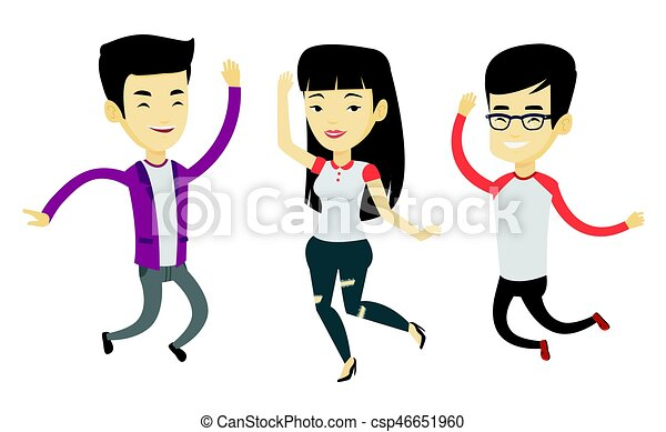 emberek, vidám, csoport, jumping., fiatal - csp46651960