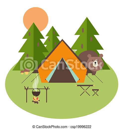 erdő, kempingezés - csp19996222