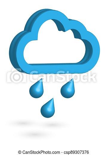 eredet, raindrops., weather., ősz, 3, icon., időjárás, felhő, esős, vektor, forecast. - csp89307376