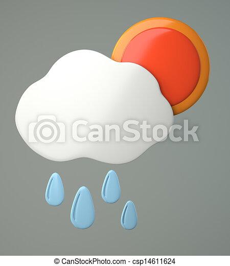 esőcseppek, felhő, nap - csp14611624