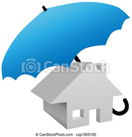 esernyő, épület, védett, biztonság, saját biztosítás - csp1805182