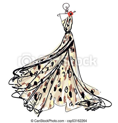 esküvő öltözködik, tervezés, elszigetelt, fehér - csp53162264