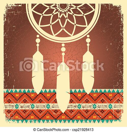 etnikai, poszter, fogójátékos, álmodik, díszítés - csp21928413