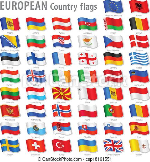 európa, nemzeti, vektor, állhatatos, lobogó - csp18161551
