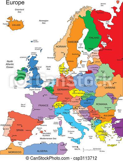 európa, országok, editable, címek - csp3113712