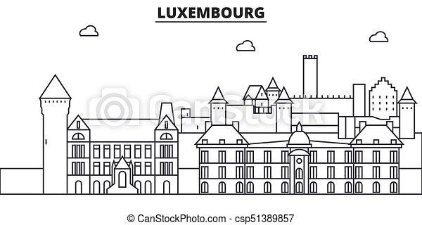 evez, cityscape, nevezetességek, táj, vektor, iránypont, illustration., híres, tervezés, wtih, egyenes, építészet, luxemburg, láthatár, város, lineáris, editable, icons. - csp51389857