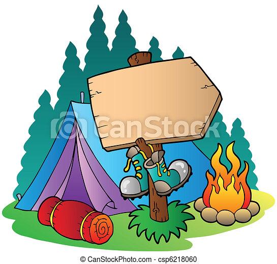 fából való, aláír, kempingezés sátor - csp6218060