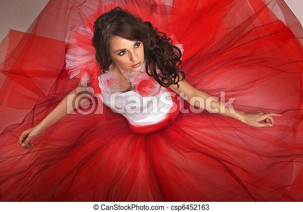 fárasztó, csinos, barna nő, ruha, piros - csp6452163