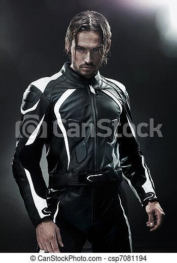 fárasztó, jelentékeny, egyenruha, motorkerékpár, ember - csp7081194